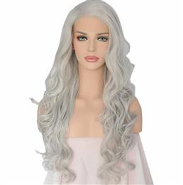 Hand tied Grey White Silver Color for Women Hair body Wavy Synthetic lace front wig for women party