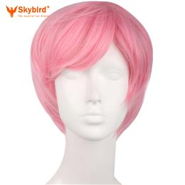 Skybird Dark Pink 25cm Cosplay Wig Men's Short Natural Straight Hair Synthetic Wigs Heat Resistant High Temperature Fiber