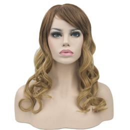 Long Curly Brown Ombre Hair Synthetic Hair Heat Resistance Fiber Wigs Women's Party Hair Cosplay Wig Hairpiece