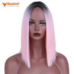 Skybird Short Ombre Wigs Women High Temperature Synthetic Straight Hair