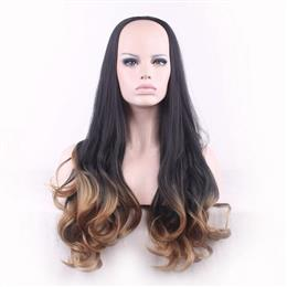 Long Wavy Wig Synthetic Wigs Black Brown Ombre 3/4 Women Wig 60cm