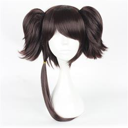 35cm Cosplay Short Synthetic Full Wigs Dark Brown Two Ponytails 100% High Temperature Fiber Hair