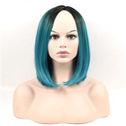 Women's Bob Short Straight Wig Synthetic Wigs Black Ombre Green Two Tone Wig Long 12inch