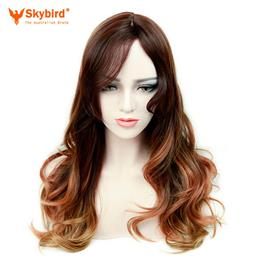 Skybird Black To Brown To Blonde 26inch Long Wavy Wig With Bangs Wigs For Women Party Or Daywear