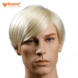 Skybird 6inch Heat Resistant Synthetic Mens Blonde Wig Short Straight Ha...