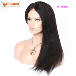 Skybird 14 inches Yaki Straight Pre Plucked Hairline Lace Front Brazilian Human Hair Wigs Natural Color Hair Wigs