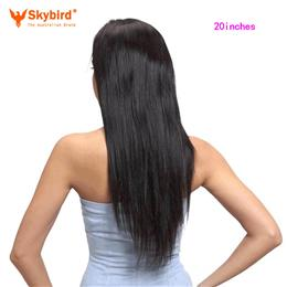 Skybird 20 inches Virgin Brazilian Straight Full Lace Human Hair Wigs Fo...