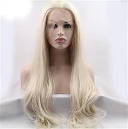 Natural Wave Synthetic Lace Front Wigs White Blonde Hair With Free Parting