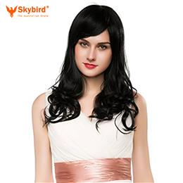 Skybird  Real Human Hair Wig Long Curly Hair Black