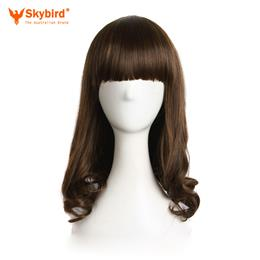 Skybird Curly Nautral Cosplay Wigs Heat Resistant Womens Synthetic Hair Light Brown 40cm 16inch