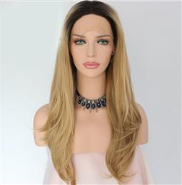 Black Ombre Brown Color Glueless Handmade Lace Part Masquerade Party Synthetic Lace Front Wig