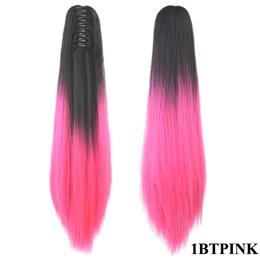 24'' Straight Synthetic Hair Clip In Hair Extension Red Gray Claw Ponytail High Temperature Fiber Hairpieces Pony Tail