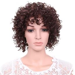 Fashion Short Curly Wigs for Women Synthetic Fluffy Dark Brown Hair