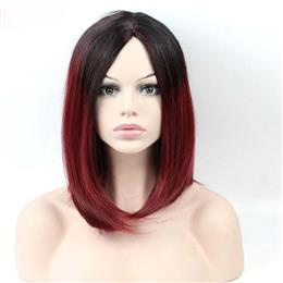 Black to Red Ombre Synthetic Wigs Women Ombre Body Wave Freetress Hair W...