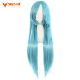 Skybird Long Straight Womens Cosplay Wigs Water Blue 80cm 32inch Costume Party Ladies Heat Resistant Synthetic Hair