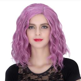 Cosplay Blonde Curly Wig - Gorgeous Women Short Curly Wig Pink Purple