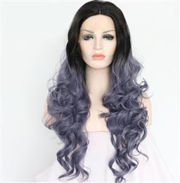 Synthetic Lace Front Wigs Body wavy 1B Long roots ombre Dark Grey heat R...