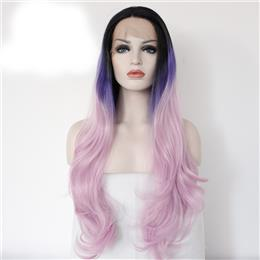 Black Ombre Purple to Pink Heat Resistant High Temperature Hair Perruque Party Synthetic Lace Front Wig For Women