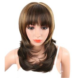 Synthetic Women's Wavy Wigs Brown Mix Blonde Color With Bangs 20inch Wig