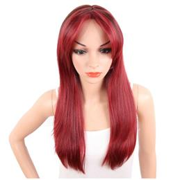 Long Silky Straight Ombre Red Color Wigs For Women Two Tone Wigs Middle ...