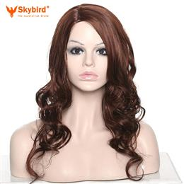 Skybird Afro Women Long Curly Highlight Synthetic Fiber Hair Wigs With Haircap Free
