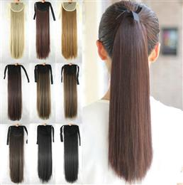 Long Straight Drawstring Hairpiece Clip in Pony Tail Hair Extensions Fake Hair Ponytail