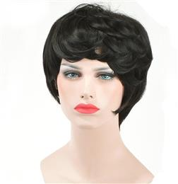 Pixie Cut Straight Synthetic Wigs With Bangs For  Women Short Black Color Brazilian Hairstyle Natural Fiber Hair Wig