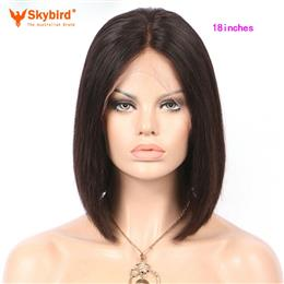 Skybird 18 inches Natural Color 130% Density Silky Straight Short Bob Wigs Brazilian Non-Remy Human Hair Wigs Pre Plucked lace Front Wigs