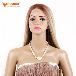 Skybird 26inch Ombre Blonde Synthetic Lace Front Wig Long Straight Cospl...