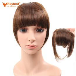 Skybird 2pcs/lot Clip In Blunt Bangs Synthetic Fake Hair Extension Fringe Bangs Hairpiece For Women 3 Colors Available