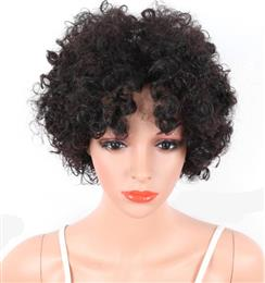 Short Afro Kinky Curly Synthetic Wigs With Bangs Female Natural Wigs For...