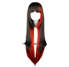 70cm Long Straight Hair Black Red Mixed Color wig Synthetic Hair