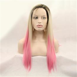 Ombre Silky Straight Synthetic Lace Front Wigs Pink Straight Hairstyle Heat Resistant Fiber Dark Roots