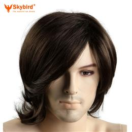 Skybird 12inch Little Wavy Short  Brown Mens Wigs Heat Resistant Synthetic Hair  Male Wig