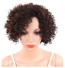 Pixie Cut Short Afro Kinky Curly Synthetic Women's Wigs Brown Color Natural Hair Wig African American Heat Resistant