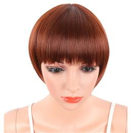 Short Pixie Cut Red Color Straight Synthetic Wigs For Women Natural Hair Wig With Bangs