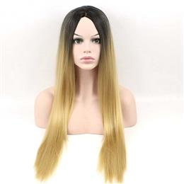 Synthetic Wigs for Black Women Long Straight Ombre Blonde Hair 24inch Free Shipping