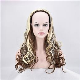 Long Curly Synthetic Hair Brown Mixed Blonde 3/4 Half Wig Braided For Women 24inch Long