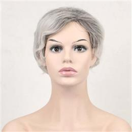 Synthetic Short Curly Hair Puffy Natural Silver Grey Wigs With Bangs For Women 20cm