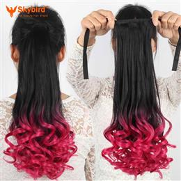 Skybird Long Wavy High Temperat Sythetic Tie Up Ponytail Clip In Hair Extension Ombre Highlight