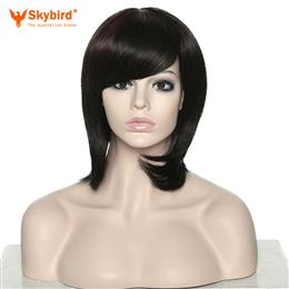 Skybird Women Short Curly Black Highlights Mixed Colors Synthetic Heat Resistant Bob Wigs