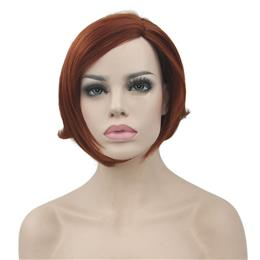 Short Wavy Synthetic Hair Heat Resistance Fiber Burgundy Wig Women's Cosplay Wigs Party Hairpiece