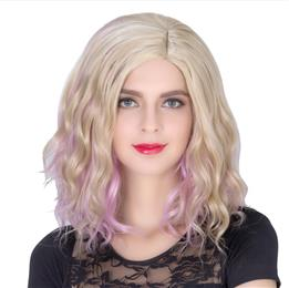 Women's Fashion Hair Style COS Wig Halloween Theme Wig Short Curly Hair Golden Pink Fading