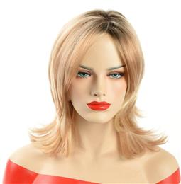 Ombre Short Blonde Synthetic Wigs Body Wave Hair For Women Two Tone Blac...