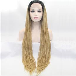 Blonde Ombre Micro Braiding Synthetic Lace Front Wigs with Dark Roots Natural Look Blonde Braiding