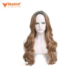 Skybird Hair 28'' 330g Long Ombre Blonde Synthetic Wigs For Women Natural Dark Blonde Wig