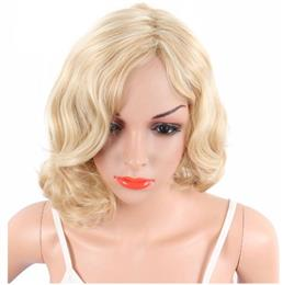 Short Blonde Color Body Wave Wigs For Women Naturally Synthetische African Amercian Hair Wigs With Bangs