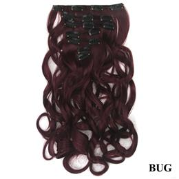 7pcs/set Long Curly Synthetic Hair Blonde Black Clip In Hair Extensions Set Full Head Hair for Women