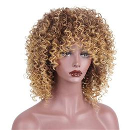 16 inches Synthetic Long Afro Kinky Curly Wigs for Black Women Blonde Mi...