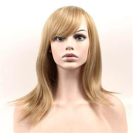 Medium Long Wavy Wig Synthetic Hair Brown Golden Mix Women Wigs 16inch